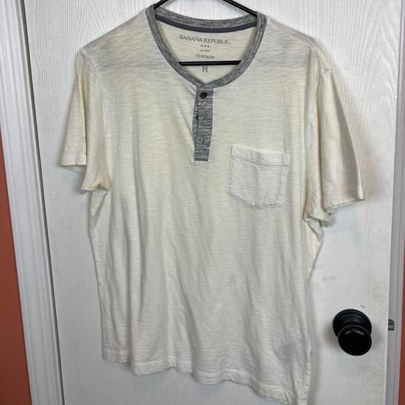 Banana Republic White Henley T Shirt